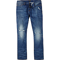 Mid wash ripped knee Dylan slim jeans