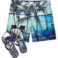 Blue Tokyo Laundry shorts and flip flop set