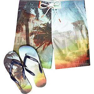 Orange Tokyo Laundry shorts flip flops set