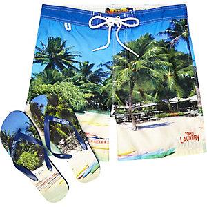 Green Tokyo Laundry shorts and flip flops set