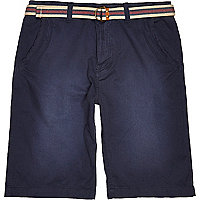 Dark blue Tokyo Laundry belted shorts