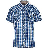 Blue Tokyo Laundry check short sleeve shirt