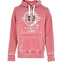 Red Tokyo Laundry distressed logo hoodie