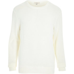 Ecru textured ribbed sweatshirt