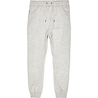 Light grey bonded cuffed joggers