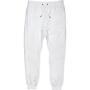 White bonded cuffed joggers