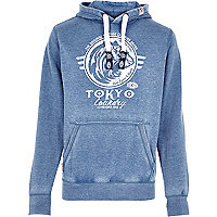 Blue Tokyo Laundry distressed logo hoodie