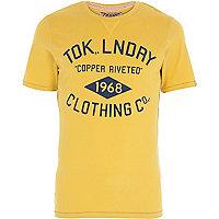 Yellow Tokyo Laundry logo print t-shirt