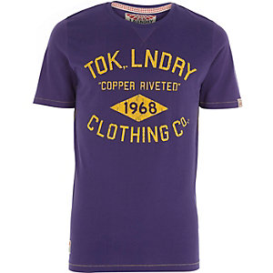 Purple Tokyo Laundry logo print t-shirt