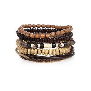 Ecru beaded bracelets pack