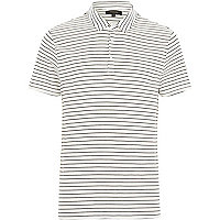 White fine stripe short sleeve polo shirt