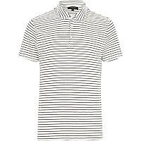 White fine stripe short sleeve polo shirt