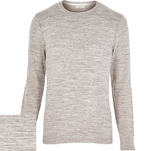 Brown marl crew neck jumper