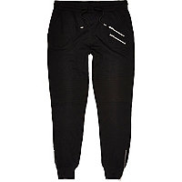 Black cotton biker joggers