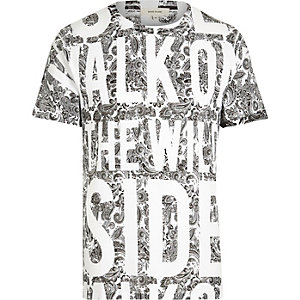 White walk on the wild side slogan t-shirt