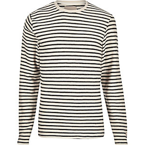 White long sleeve stripe sweat