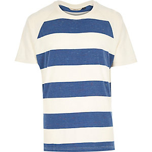 Blue RVLT stripe raglan t-shirt
