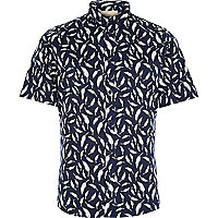 Navy RVLT leaf print short sleeve shirt