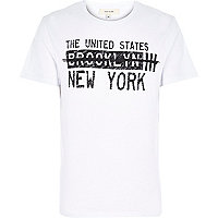 White New York strike through print t-shirt