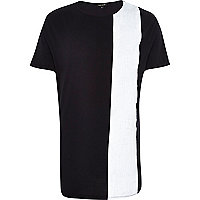 Black statement stripe curved hem t-shirt