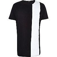 Black statement stripe curved hem t-shirt