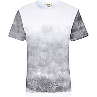 White ombre fade out roman numeral t-shirt
