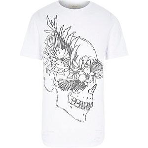 White skull sketch print t-shirt