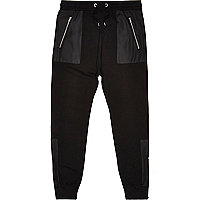 Black cotton panelled joggers