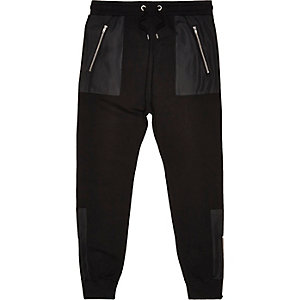 Black cotton panelled joggers
