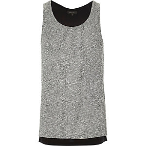 Grey ribbed vest