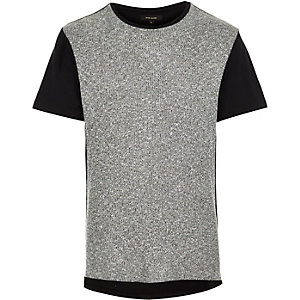 Grey ribbed block t-shirt