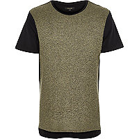 Khaki green ribbed block t-shirt