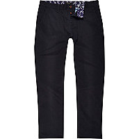 Navy slim contrast tape chinos