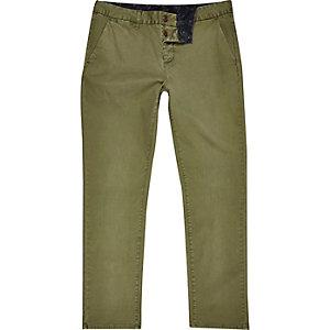 Khaki green slim chino pants