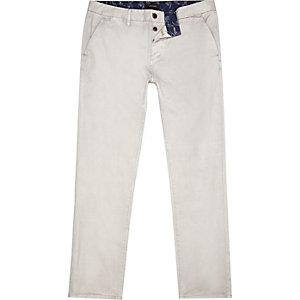Grey slim chino trousers