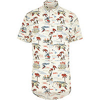Ecru Hawaiian print short sleeve shirt