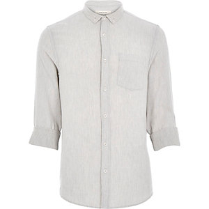 Grey textured waffle shirt
