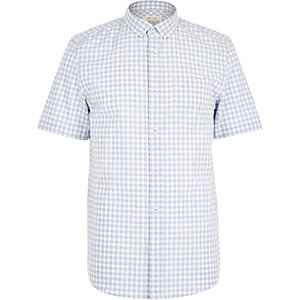 Blue melange gingham short sleeve shirt