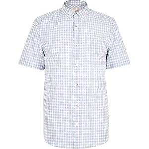 Blue melange gingham short sleeve shirt