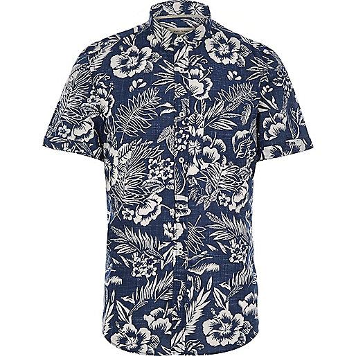 Blue Hawaiian Print Short Sleeve Shirt Shirts Sale Men