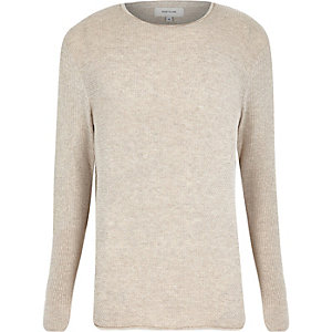 Stone lightweight textured sweater