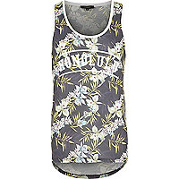 Black floral print curved hem Honolulu vest
