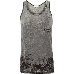 Grey floral print burnout vest