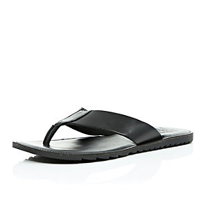 Black leather plain sandals