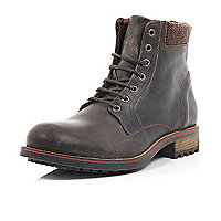 Brown cleated combat boots