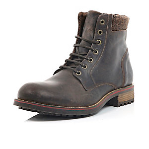 Brown leather cleated combat boots