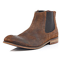 Brown worn suede Chelsea boots