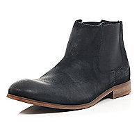 Black worn suede Chelsea boots