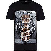Black New York print t-shirt