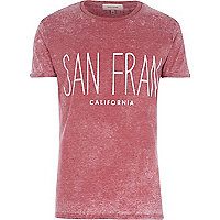 Red washed San Fran print t-shirt